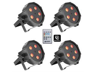 4x Cameo FLAT PAR CAN 5x3W RGB LED schwarz inkl. IR Fernbedienung
