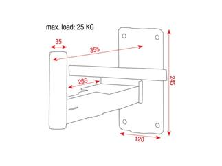 DAP Audio Speaker Wall Bracket 35mm Max load 20 Kg