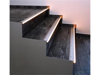 Reprofil Treppenstufen-Profil AL-01-10 für 10 - 11,3 mm LED Stripes, Silber-matt, eloxiert, 2000 mm