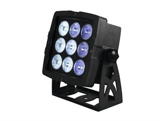 EUROLITE Outdoor LED IP PAD 9x8W QCL, ca. 72 Watt RGBW, 15° inkl. Fernbedienung