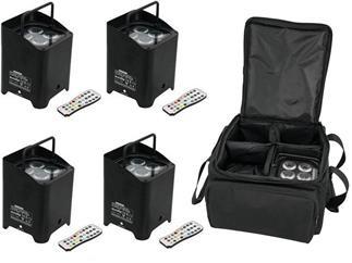 4er Set EUROLITE AKKU UP-4 HCL Spot WDMX inkl. Tasche
