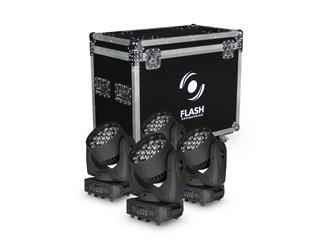 4x FLASH LED MOVING HEAD 19x15W RGBW ZOOM MKII + Case