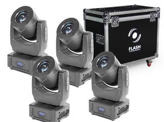 FLASH 4x LED MOVING HEAD BEAM 80W + CASE