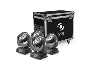 4x Flash Moving Head Wash 36x10W RGBW 4in1 Zoom, 1 Sektion - 4er Set im Case