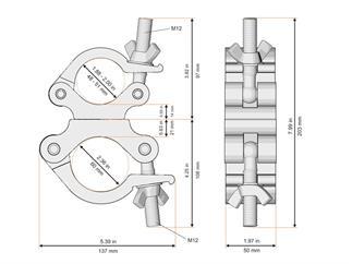 Global Truss Trussaufnehmer doppelt 60mm / 50mm drehbar