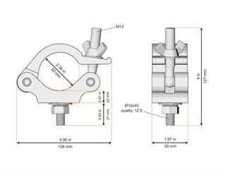 Global Truss Halfcoupler für 60mm Rohr, 50mm breit