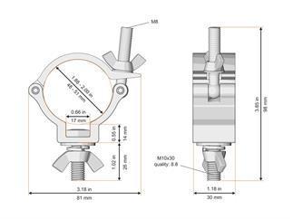 Global Truss Trussaufnehmer klein, 100kg, 30mm breit, TÜV