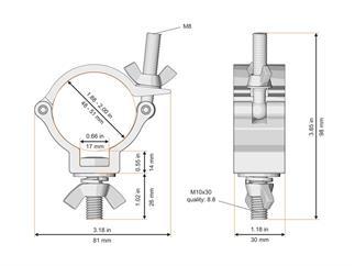 Global Truss Trussaufnehmer klein, 100kg, 30mm breit, TÜV, SCHWARZ