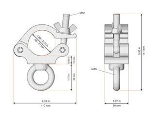 Global Truss Trussaufnehmer mit Öse 48-51mm Tragkraft 200kg