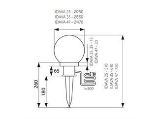 KANLUX IDAVA 25 Gartenleuchte Kugel 25cm E27 IP44