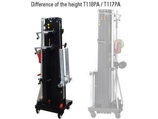 Fantek Lift T-118PA, schwarz, max. Höhe 5.0m, NUR FÜR INDOOR, f. Line Arrays, max. Auflast 250kg, ALKO 901