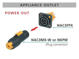 Neutrik powerCON TRUE1 Einbaubuchse weiblich - P-out, Flachsteckzungen