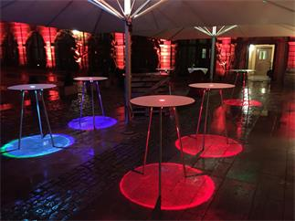 LED Table - Event Table TourSet 75 R - 6 Tische, rund, 110cm, mit LED, Case, Tasche, Fernbedienung