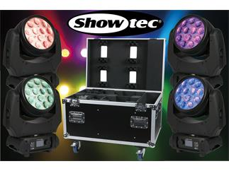 4er Set SHOWTEC Phantom 120 LED Wash - 12 x10W RGBW Moving-Head + Case