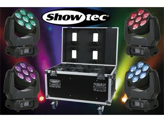 4er Set Showtec Phantom 70 LED Beam - 7 x 10W RGBW LED + Case