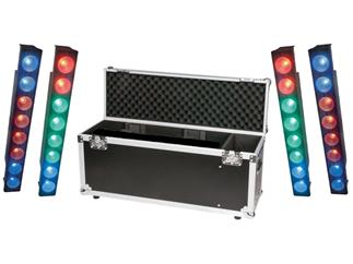 4x Showtec Pixel Bar 8 COB - 8x 15W COB RGB LED + Case