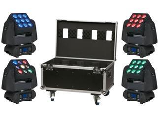4x Showtec PXO Beam 9 x 10W RGBW LED Moving-Head inkl. Case, Demogeräte!