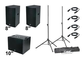 "DAP DRX-Akkustik Set 950 Watt 2x 8"" Top-Teile + 1x 10"" Subwoofer + Zubehör"