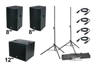 """DAP DRX-Akkustik more Bass Set 950 Watt 2x 8"""" Top-Teile + 1x 12"""" Subwoofer + Zubehör"""