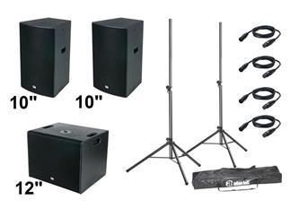"DAP DRX-DJ Set 990 Watt 2x 10"" Top-Teile + 1x 12"" Subwoofer + Zubehör"