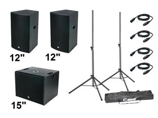"DAP DRX-Entertainer Set 1.060 Watt 2x 12"" Top-Teile + 1x 15"" Subwoofer + Zubehör"
