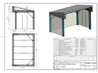Global Truss PITCH ROOF 6x4 meter, Bühnendach, Pultdach