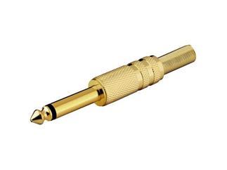 Klinkenstecker 6,35 mm - mono, vergoldet m. Knickschutz