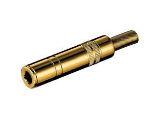 Klinkenkupplung - 6,35 mm - stereo, vergoldet mit Knickschutz