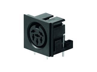 DIN-Einbaubuchse 6-polig 240°, Kunststoffausführung,Printanschlüsse 90°