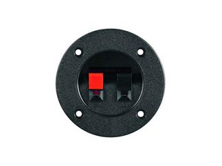 Lautsprecher-Terminal, 2 pol.Klemmleiste, rot/schwarz , rund für versenkten Einbau