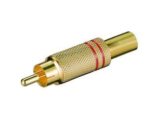 Cinchstecker rot, vergoldet für Kabel ø 5,4 mm