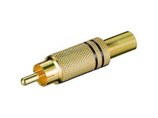 Cinchstecker schwarz für Kabel ø 5.4mm, vergoldet mit Knickschutz