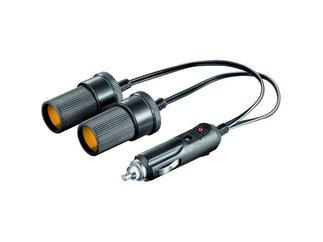 Auto-Zigaretten-Anzünder-Kabel, Länge 0,2 mtr , Stecker>2xKupplung
