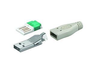 USB A-Stecker zur werkzeugfreien Crimp-Montage, inkl. Tülle