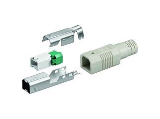 USB B-Stecker zur werkzeugfreien Crimp-Montage, inkl. Tülle