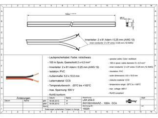 Lautsprecherkabel rot/schwarz, 100m Spule, Querschnitt 2x4,0 mm², CCA