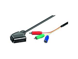Video-Kabel 5,0 m Polybag, Scartstecker > 3 x Cinchstecker (RGB)