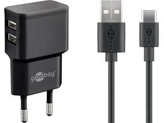 Goobay USB Type-C™ Dual Ladeset 2,4 A, Schwarz, 1 m - Netzteil mit 2x USB-Buchse und USB Type-C™ Kab