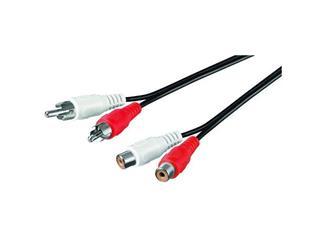 Audio-Video-Kabel 5,0 m,, 2x Cinchstecker > 2x Cinchkupplung, Verlängerung