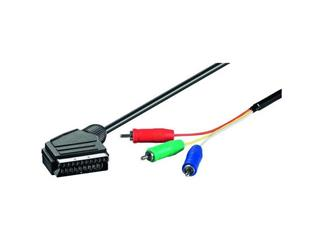 Video-Kabel 1,0 m lose Ware, Scartstecker > 3 x Cinchstecker (RGB)