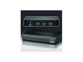 Clicktronic® HDMI Splitter/Verteiler 1 IN/2 OUT, kaskadierbar, mit HDMI Lock System, unterstützt 3D