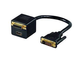 DVI-Stecker > DVI-Buchse + HDMI® Buchse, vergoldete Kontakte lose Ware