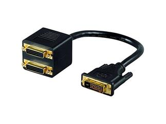DVI-Stecker > 2 x DVI-Buchse, vergoldete Kontakte lose Ware