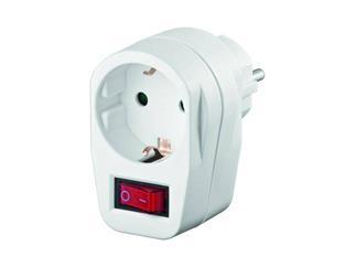 Schutzkontakt-Schalter, 1x Schutzkontakt-Buchse weiß