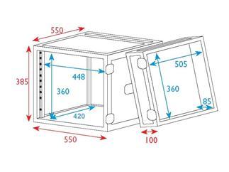 """19"""" Rack - Flightcase 8 HE, Double Door"""