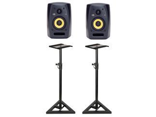 KRK VXT 4 Bundle inkl Studio-Stative 2x Lautsprecher; 2x Stativ