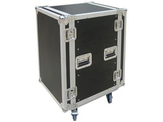 Flightcase 16 HE Doubledoor 9mm mit Rollen