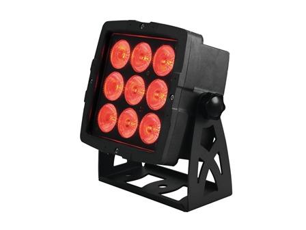 EUROLITE Outdoor LED IP PAD 9x8W QCL, ca. 72 Watt RGBW, 15° inkl. Fernbedienung