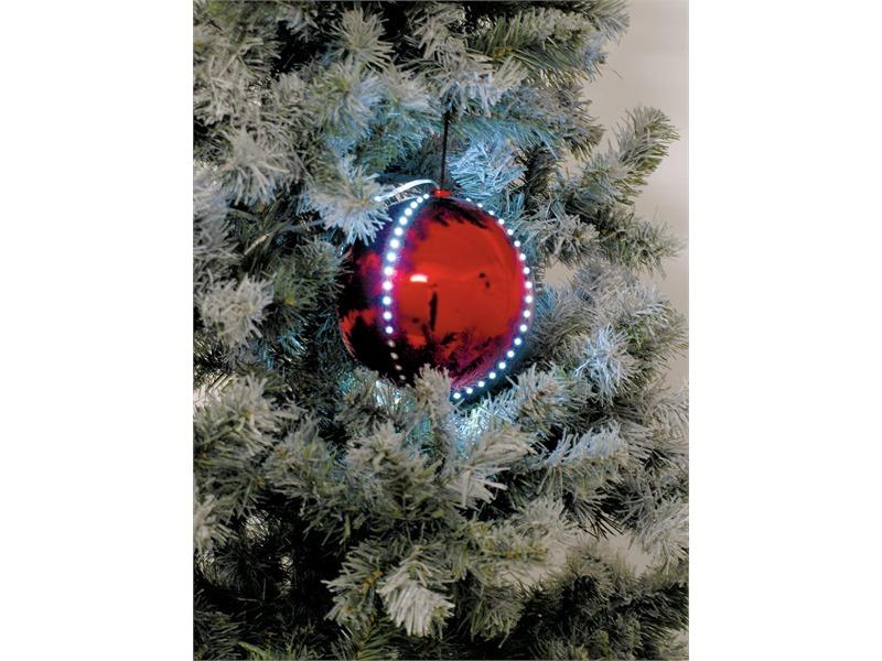 5x Europalms LED Christbaumkugel 8cm, rot