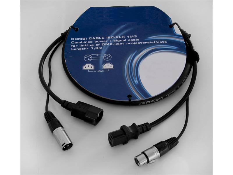 LIGHT Kombi Kabel IEC/XLR 1,3m zum Verbinden von Flat Par´s, und LED